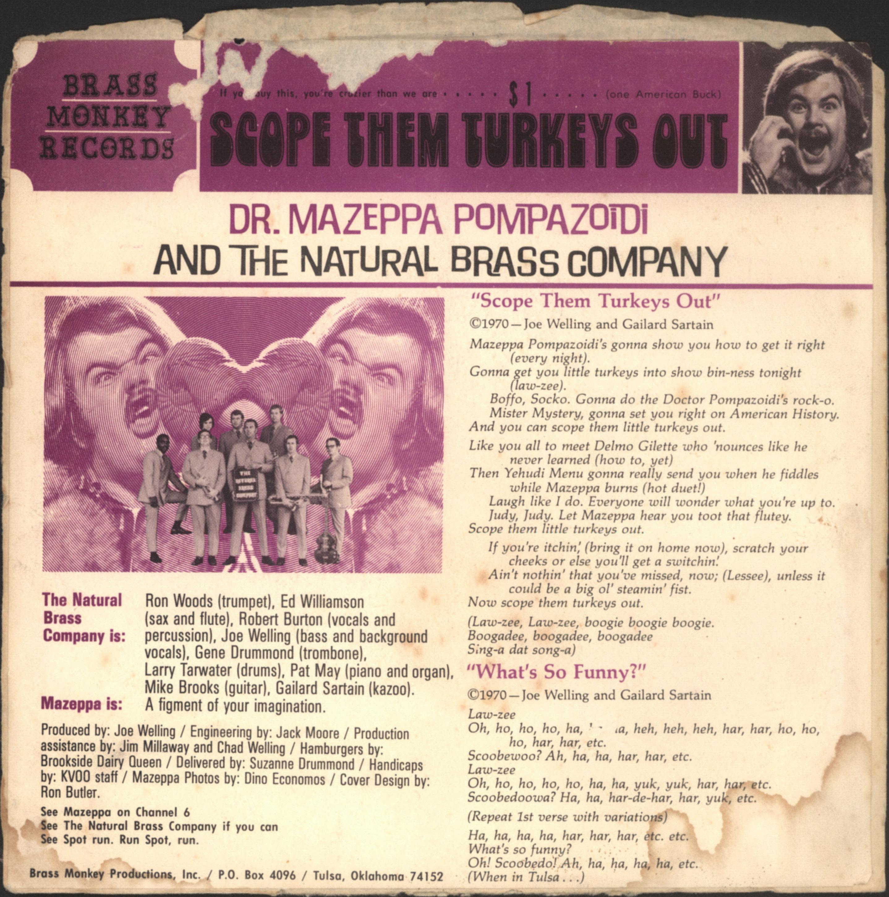 Natural Brass Company featuring Dr. Mazeppa Pompazoidi, Scope Them Turkeys Out (Brass Monkey BMR-107.01-A)