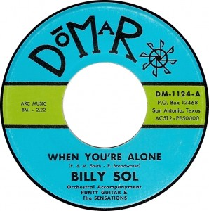 Billy Sol with Orchestral Accompanyment: Punty Guitar & the   Sensations, When You're Alone (Domar DM-1124-A)